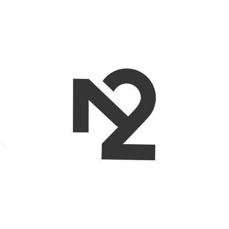 Monogram of the number 2 and the letter N Illustration