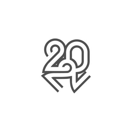 Vector is new year 2022. Uniquely crafted, monogrammed. Illustration