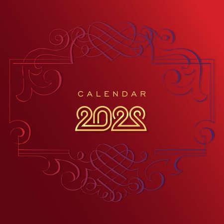 new year 2022 vector in batik motif. Gold colour.