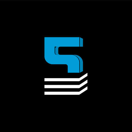 The logo is the NUMBER 5. The bottom is made of 3 horizontal lines.