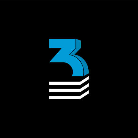 The logo is the NUMBER 3. The bottom is made of 3 horizontal lines.