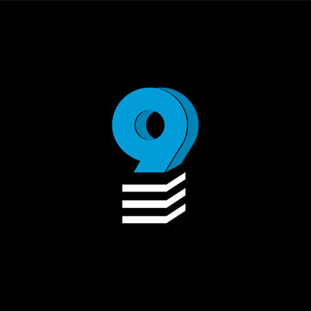 The logo is the NUMBER 9. The bottom is made of 3 horizontal lines. Illustration