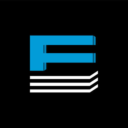 The logo is the LETTER E. The bottom is made of 3 horizontal lines.