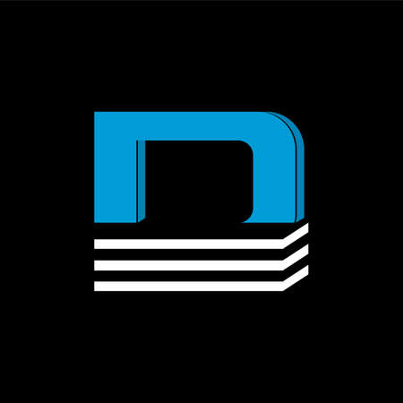 The logo is the LETTER D. The bottom is made of 3 horizontal lines. Illustration