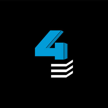 The logo is the NUMBER 4. The bottom is made of 3 horizontal lines. Illustration