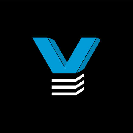 The logo is the LETTERV. The bottom is made of 3 horizontal lines.
