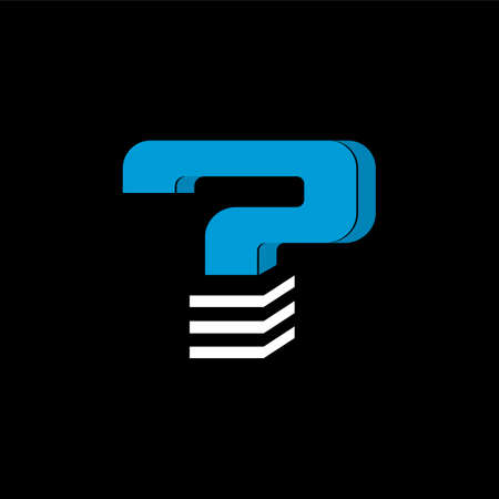 The logo is the LETTER QUESTION. The bottom is made of 3 horizontal lines.