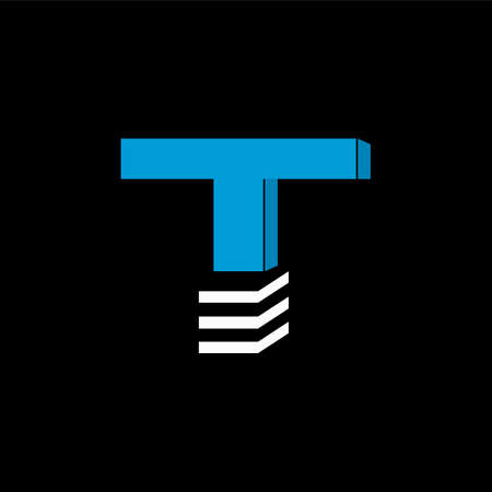 The logo is the LETTER T. The bottom is made of 3 horizontal lines.