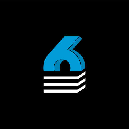 The logo is the NUMBER 6. The bottom is made of 3 horizontal lines.