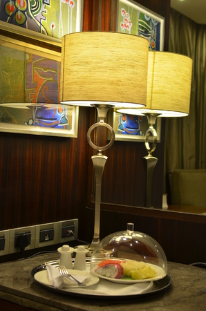 lighted: Lighted table lamp with mirror  reflection