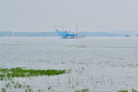 Fishing rafts with blue nets floating over the lake during the day with foregound of green grass photo