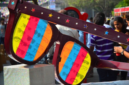 Mumbai, India - February 1, 2013   Oversized multi coloured eyeglasses at local fairground