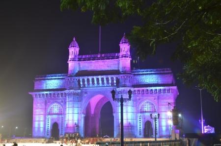 Illuminated Gateway of India in Mumbai at night during the Republic Day