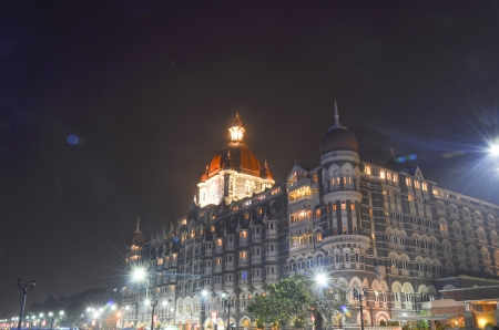Illuminated Taj Mahal Palace at night in Mumbai