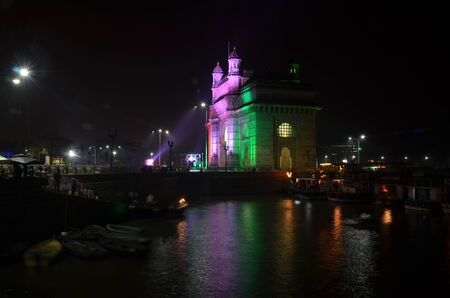 Illuminated Gateway of India in Mumbai at night during the Republic Day  photo