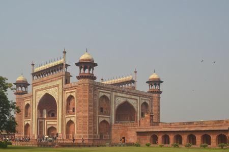 Agra, India - November 2013 - Main Entrance to Taj Mahal Mausoleum Editorial