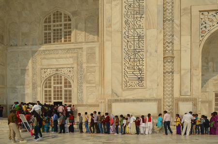 Agra, India - November 2013 - People queueing up to visit Taj Mahal