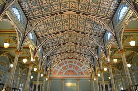 Mumbai, India - December 2013 - Decorative Ceiling and columns in Colonial style of Dr. Bhau Daji Lad Museum