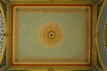 Mumbai, India - December 2013 - Decorative Ceiling in Colonial style of Dr. Bhau Daji Lad Museum