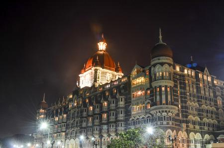 Taj Mahal Palace at night in Mumbai Editorial