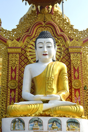 statute: Statute of Buddha at the Global  Vipassana Pagoda Center in Mumbai