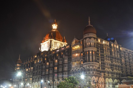Taj Mahal Palace at night in Mumbai Editorial