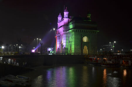 Illuminated Gateway of India in Mumbai at night during the Republic Day