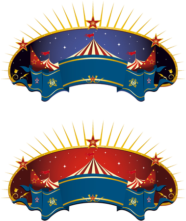 marquee tent: A circus tent banner for your advertising  Illustration