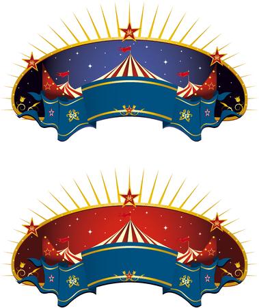 entertainment tent: Una carpa de circo y de banner para su publicidad
