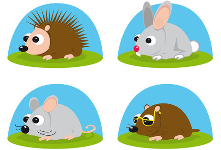 small group of animal: Illustration of little animals
