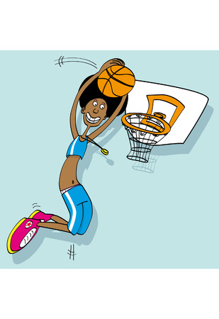 nba: A basketball player cartoons style Illustration