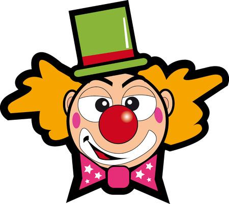 clown cirque: clown avec un chapeau vert Illustration