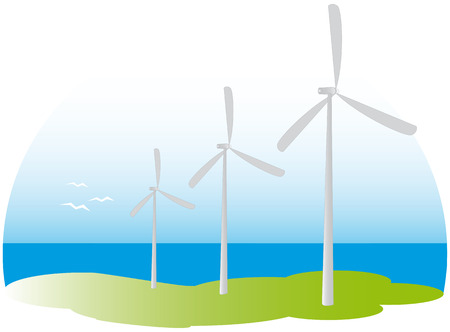 three win turbines near the see Stock Vector - 5060453