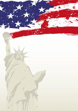 artes plasticas: Una bandera americana grunge con la estatua de la libertad.