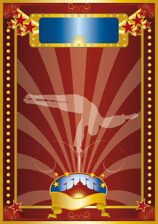 A circus poster with a silouhette of a tightrope walker.