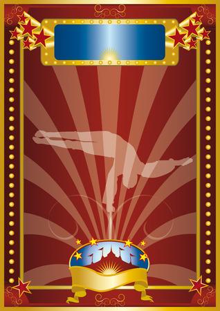 entertainment tent: Un cartel de circo con un Silouhette de un equilibrista.