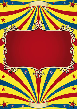 Circus background with an old red frame for your advertising. Vector
