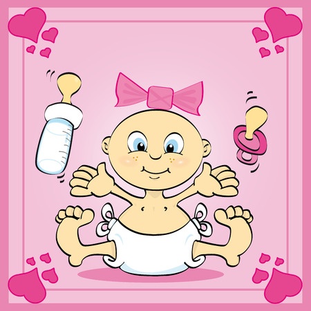 Just a card of a baby girl Vector