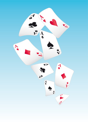 winning first: flying playing cards in the sky Illustration