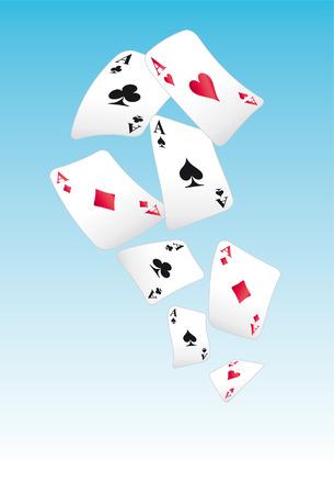 jugando a las cartas de vuelo en el cielo