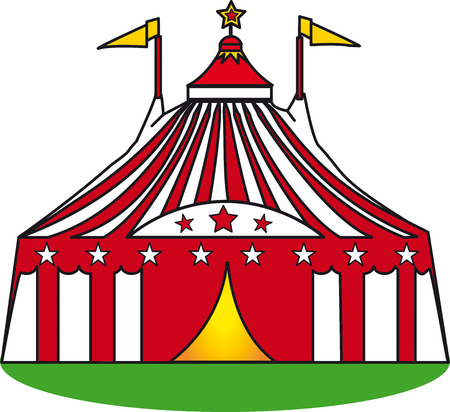 An illustration of a circus tent on a grass Vector
