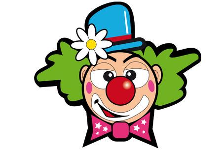 nez de clown: une t�te de clown avec une fleur.