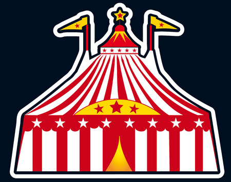 Circus tent on a black background for a sticker Stock Vector - 5126301