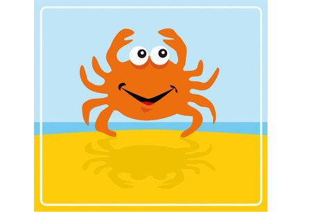 spring break: A little crab is dancing on the beach Illustration