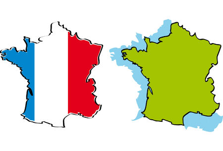 two maps of France Vector