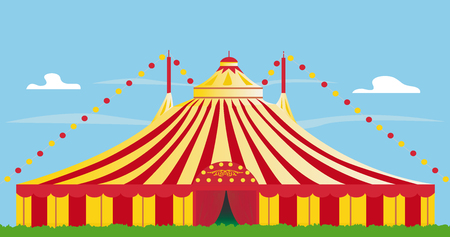 tarpaulin: yellow and red big top on the grass