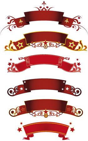 fondo de circo: Un conjunto de seis banderas rojas Vectores