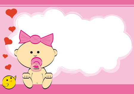 A baby girl with a chick for a birtday card Vector