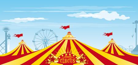 Three big top in a amusement Park Vector