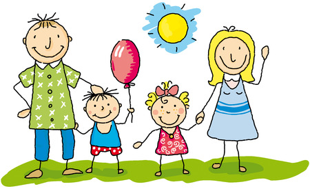 offspring: draw of a happy family in the grass. Illustration